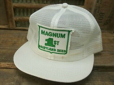 28ccb13954d1b Vintage MAGNUM SEED Mesh Snapback Trucker Hat Cap Patch K PRODUCTS Made In  USA