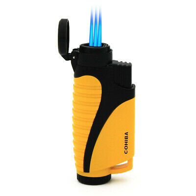 COHIBA Triple Torch Jet Flame Yellow Cigar Cigarette Metal Lighter