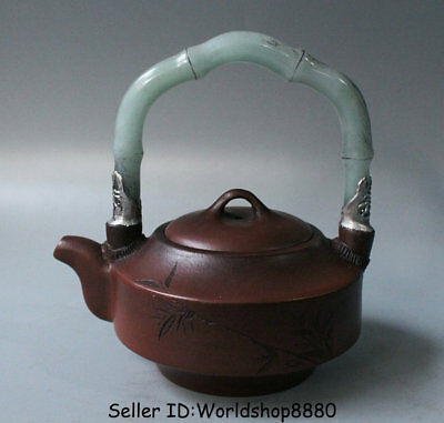 "5.6"" Old China Yixing Zisha Pottery Inlay Jade Dynasty Bamboo Portable Teapot"