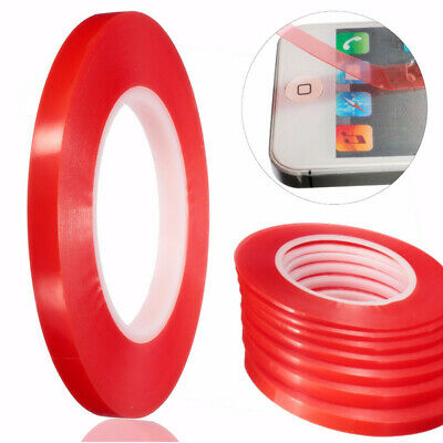 UK 2-10mm 50M Adhesive Double Sided Strong Sticky Clear Red Roll Tape Craft DIY