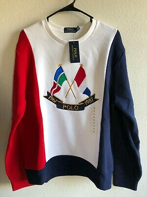 a8d97d36a Polo Ralph Lauren Cross Flags Tri-Color Sweatshirt LARGE 1992 Stadium USA CP -93