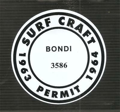 """BONDI BEACH 1963 - 1964 SURFBOARD SURF CRAFT PERMIT"" Sticker Decal SURFING"