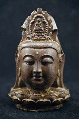 Fine Chinese agalloch eaglewood wood antique hand-carved statue Guanyin Buddha