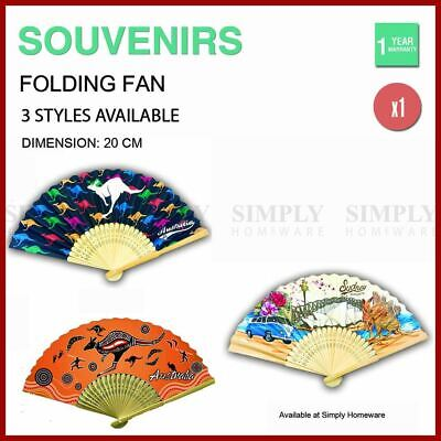 Australian Souvenirs Hand Holding Fans Chinese Bamboo Wooden Paper Aussie Gift