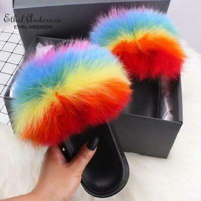 Real Fox Fur Plush Slippers Luxury Indoor Outdoor Slides Fur Shoes Wholesale