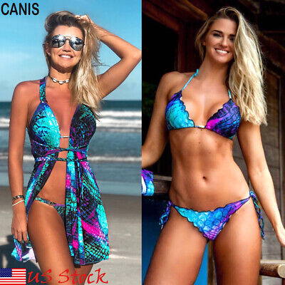a92298d58f Women Push-up Padded Bra Bandage Bikini 3PCS Swimsuit Triangle Swimwear  Bathing