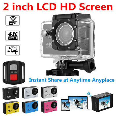 WiFi 4K 1080P Ultra HD Sport Action Camera DVR DV Camcorder with Remote Control