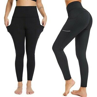 AU Women's Yoga Pants with Pocket High Waisted Tummy Control Workout Leggings