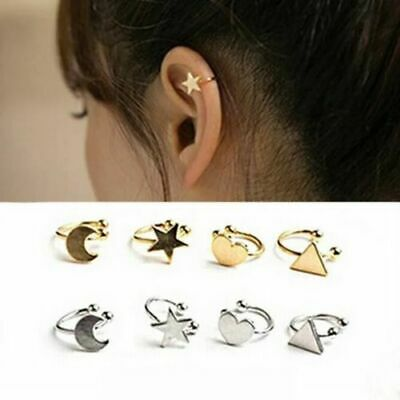 2pc Womens Ear Cuff Earrings Helix Cartilage Stud Fake Clip On Silver Gold Girls