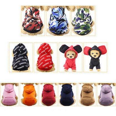 Pet Dog Sweater Soft Dogs Clothes Sports Hoodie Jumper Coat Puppy Cat Apparel AU