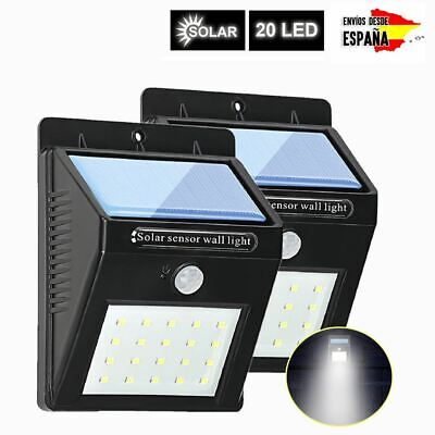 20 LED Solar Luz de Pared PIR Sensor de Movimiento Lámpara Exterior Impermeable