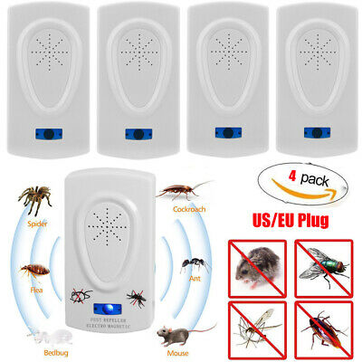 4 x Electronic Ultrasonic Pest Reject Mosquito Cockroach Mouse Killer Repeller