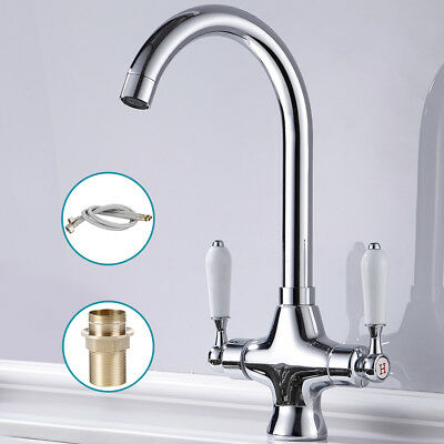 Twin Lever Traditional Brass Taps Kitchen Sink Mixer Mono Tap Solid Brass Chrome