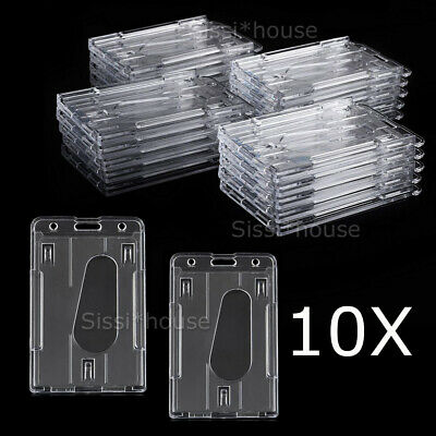 10X Vertical Hard Plastic Badge Holder Double Side Card ID Multi Transparent NEW