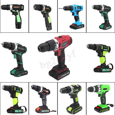 Electric Cordless Drill 2 Speed Impact Screwdriver Rechargeable Li-ion Battery