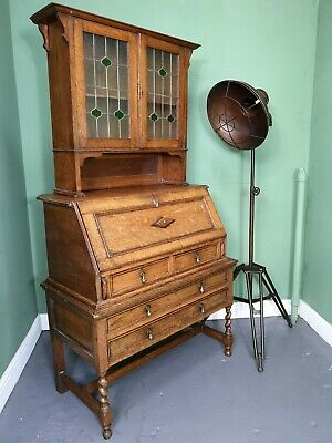 An Antique Arts and Crafts Solid Oak Bureau Bookcase ~Delivery Available~