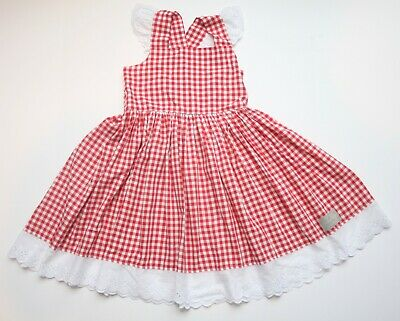 e1880de0db1 Girls Eleanor Rose Red White   Bike Red Check Dress with Eyelet Size 7 8