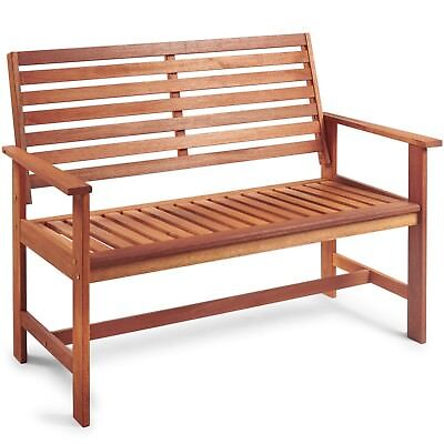 VonHaus Medium Garden Bench 2 Seater Wooden Hardwood Patio Outdoor Furniture