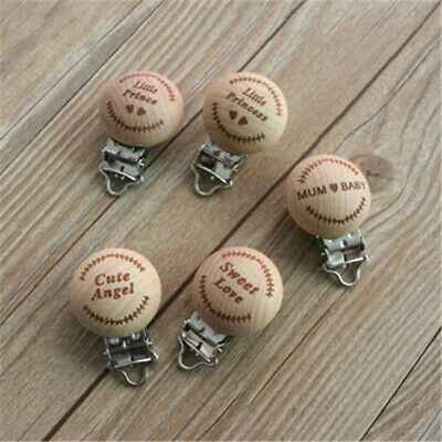 Infant Baby Wooden Carved Pacifier Holder Clip Nipple Teether Nipple Clip CB
