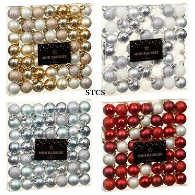 141765106f71 MINI BAUBLES SILVER Red Blue Gold Christmas Decorations Decor ...