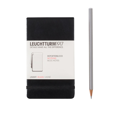 Leuchtturm 1917 Reporter Pad A6 Luxury Stationery Notebook Ruled Pages Black