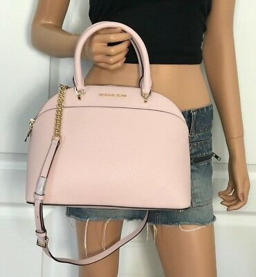 4a2108cec62f NWT Michael Kors Emmy Large Cindy Dome Satchel Crossbody Leather Pink  Blossom