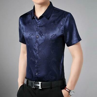 Men Casual Formal Top Soft Silk Satin T-shirt Chinese Dragon Short Sleeve Summer