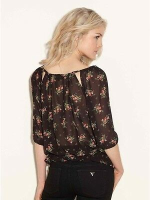 efe3cbda0227a6 NWT w Tags  Guess Molly Floral Print Peasant Blouse in Jet Black Multi Sz