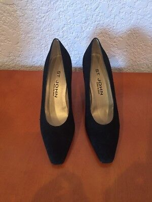 a8869d15e6f ST. JOHN LEATHER Heels Classic Black Pumps Gold Trim Made in Italy ...