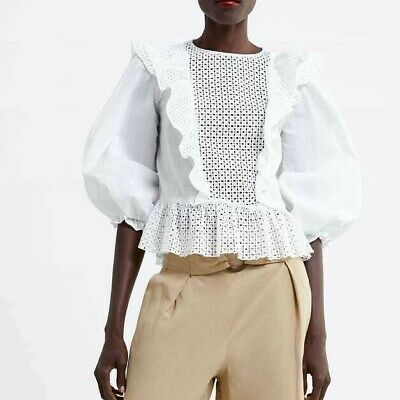 160d2184 ZARA WOMAN NEW 2019 White Die-Cut Embroidered Blouse Ref: 2491/573 ...
