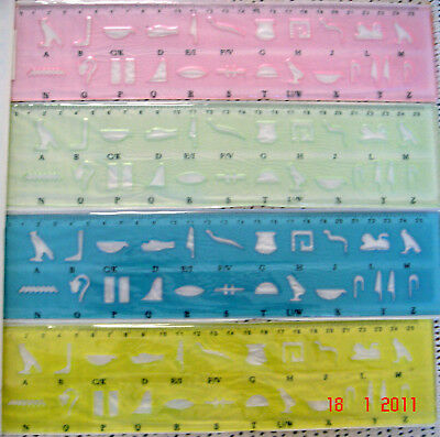 2 x STENCIL / TEMPLATE RULER FOR ANCIENT EGYPTIAN WRITING