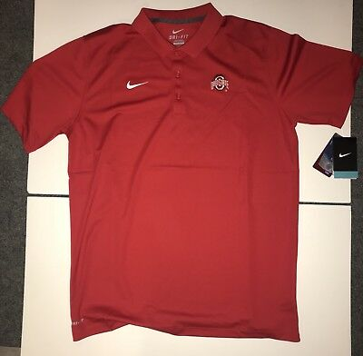 13fbc9f98 NIKE MENS LARGE OHIO STATE BUCKEYES DRI FIT POLO RED 845830 657 NCAA New OSU