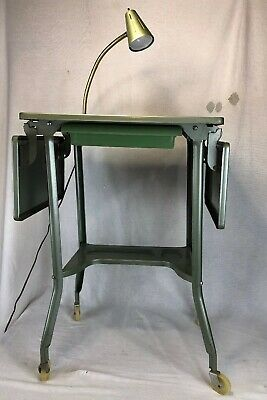 Vintage Metal Drop Leaf Rolling Typewiter Stand With Lamp Mid Century Green