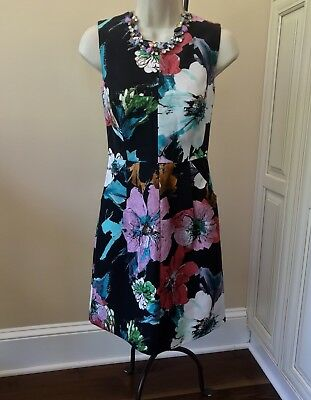 884268be7a  395 Milly Coco Sleeveless Floral Sheath Dress With Pockets ~ Women s 0