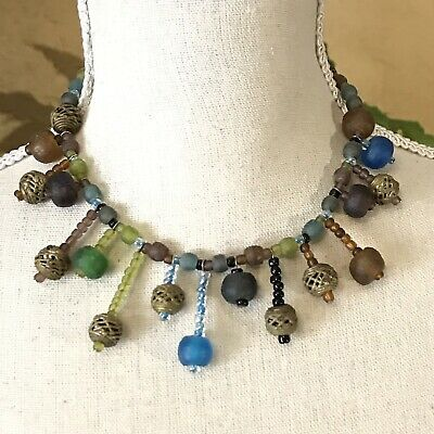 Vintage Boho Antique Look Rough Glass Beaded Choker Asymmetrical Length Dangles