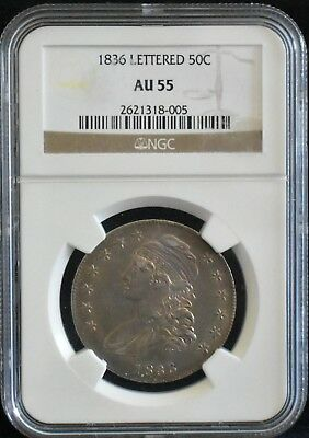 1836 CAPPED BUST 50c SILVER HALF DOLLAR - LETTERED EDGE ** NGC AU 55 ** NICE
