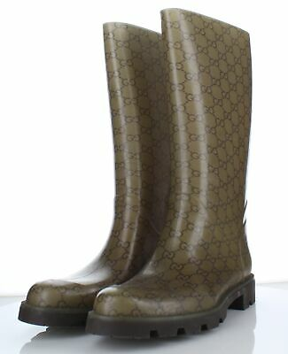 4cf4aee5d89 255 Gucci Edimburg GG Brown Beige Rubber Tall Rain Boot Women s Sz 41 M