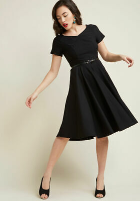 e8ca7ecd70 ModCloth Black To Classic Short Sleeve Fit   Flare Midi Dress by Miss Lulo  L NEW
