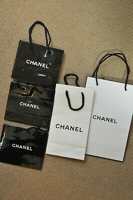 a8a837ff1df3 CHANEL Lot of 5 empty Paper shopping gift bags 3 Black 2 White ~ Authentic