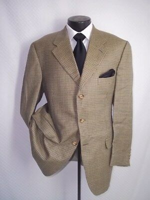 Loro Piana Fabric John.W. Nordstrom Beige Check 3 Buttons Cashmere Jacket 44 R