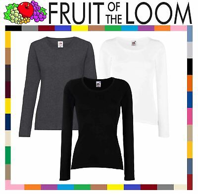 Fruit of the Loom Plain Lady Fit Long Sleeve T-Shirt Top | 3 COLOURS | XS - 2XL