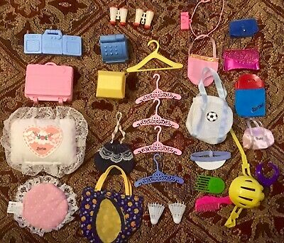 Lot of 29 Barbie Doll Accessories Boombox Suitcase Hangers Bags Purse Pillows +