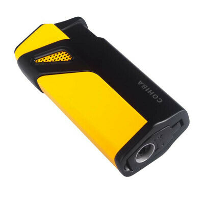 COHIBA 3 Torch Jet Flame Metal Cigar Lighters Black And Yellow W/Punch Cutter