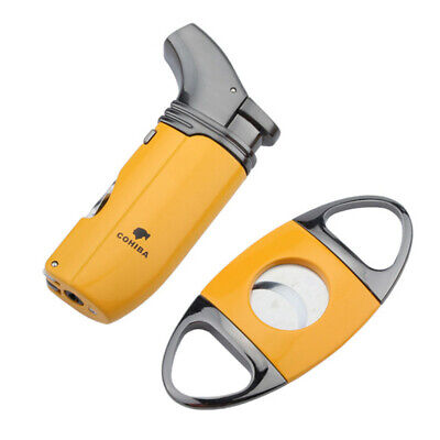 Cohiba Yellow 2 Torch Jet Flame Cigarette Cigar Lighter With Punch Cutter Set