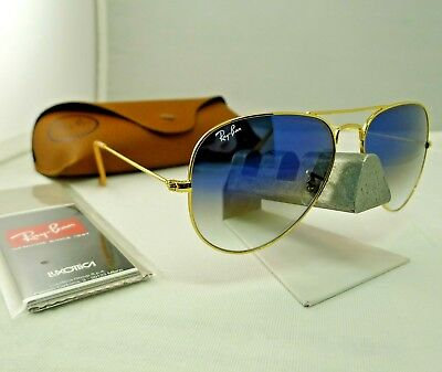 e44eae661094 Ray-Ban Rb3025 001 3F Gold Frame Light Blue Gradient Aviator Sunglasses  58Mm New