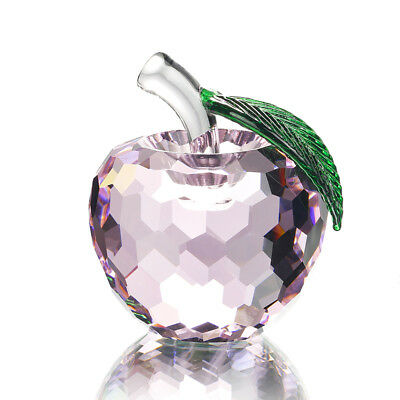 Crystal Pink Apple Figurine Glass Paperweights Boxed Mother's Day Gifts 60mm
