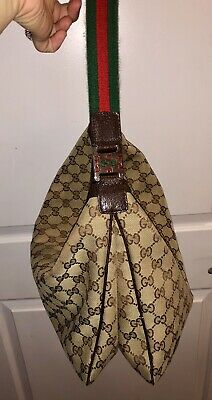 f981d0c651b Gucci Brown And Beige GG Horsebit Hobo Bag Red Green Strap Purse Authentic