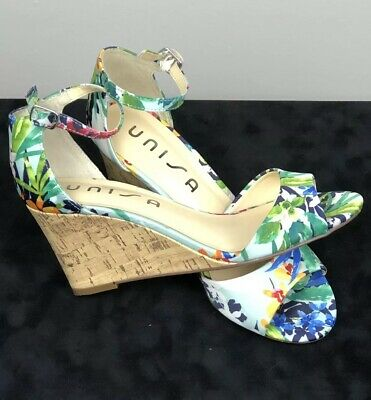 9585e5fd59b UNISA Womens Sz 7M Cork Wedge Sandals Multicolor Floral Peep Toe Spring  Easter