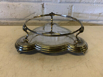 Antique Silver Plated Round Stand w/ Goat / Ram Head Decoration