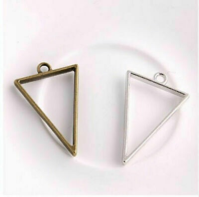 Free Ship 10Pcs Triangle Charms Hollow glue blank pendant tray bezel charms